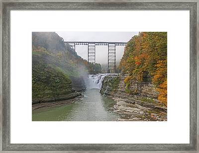 Foggy Sunrise At The Upper Falls Framed Print