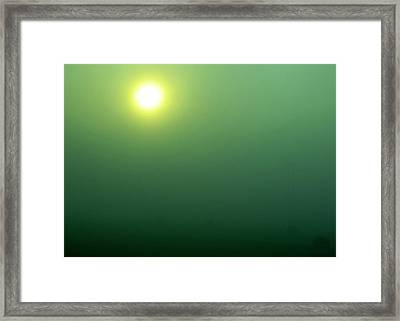 Foggy Sunrise On Round Bales Framed Print by Tony Grider