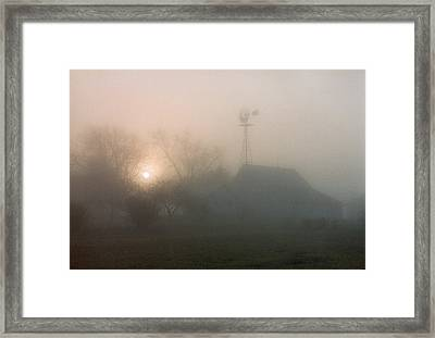 Framed Print featuring the photograph Foggy Sunrise Over Barn by Peg Toliver