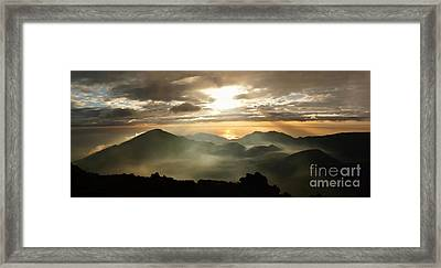 Foggy Sunrise Over Haleakala Crater On Maui Island In Hawaii Framed Print