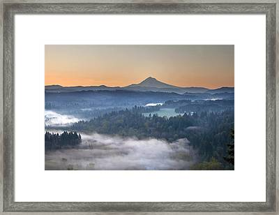 Framed Print featuring the photograph Foggy Sunrise Over Sandy River And Mount Hood by JPLDesigns