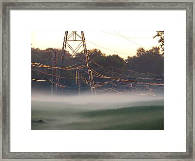 Framed Print featuring the photograph Foggy Sunrise Wires by Nikki McInnes