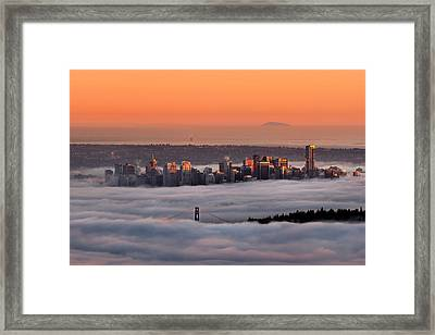 Foggy Sunset Crop Framed Print