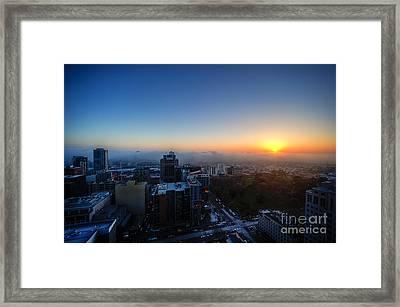Foggy Sunset Framed Print by Ray Warren