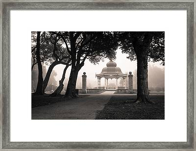 Foggy Tower Grove Framed Print