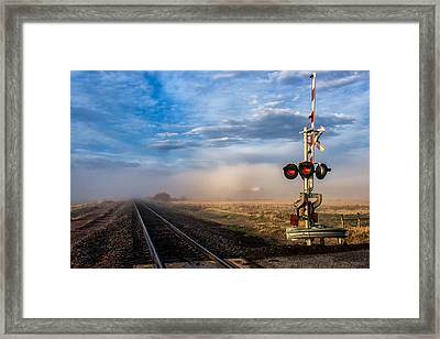 Foggy Train Tracks Framed Print