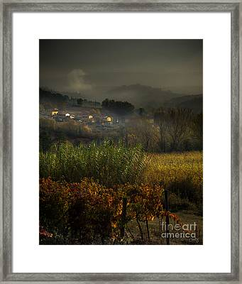 Foggy Tuscan Valley  Framed Print
