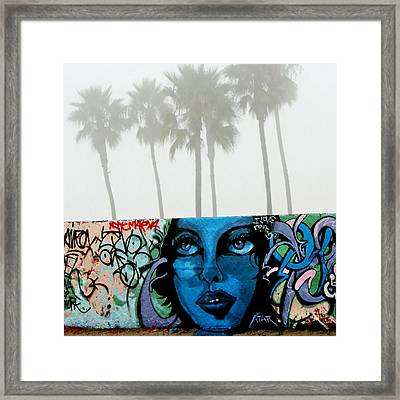 Foggy Venice Beach Framed Print by Art Block Collections