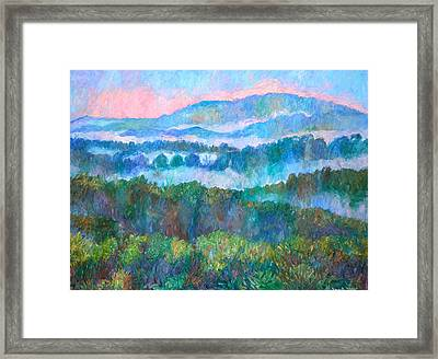 Foggy View From Mill Mountain Framed Print by Kendall Kessler