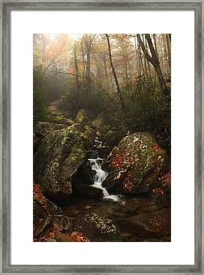 Foggy Waterfall  Framed Print