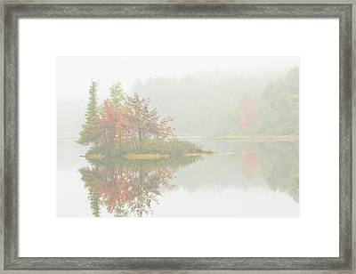 Foggy Weather And Fall Colors On Flying Pond Vienna Maine Framed Print