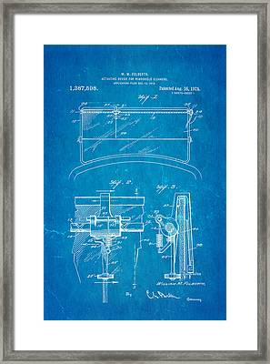 Folberth Windshield Wiper Patent Art 1921 Blueprint Framed Print by Ian Monk