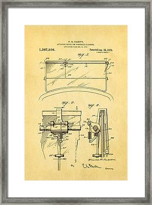 Folberth Windshield Wiper Patent Art 1921 Framed Print by Ian Monk