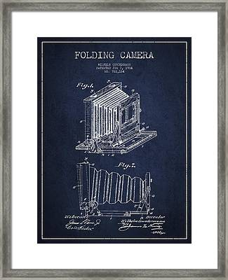 Folding Camera Patent Drawing From 1904 Framed Print by Aged Pixel