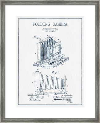 Folding Camera Patent Drawing From 1904 - Blue Ink Framed Print