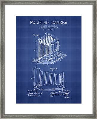 Folding Camera Patent From 1904 - Blueprint Framed Print