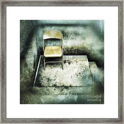 Folding Chair On Stoop Framed Print by Amy Cicconi