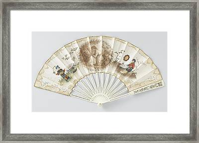 Folding Fan With Double Sheet Of Paper On Which A Round Framed Print