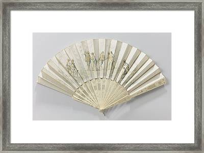 Folding Fan With Double Sheet Of White Satin Painted Framed Print by Litz Collection