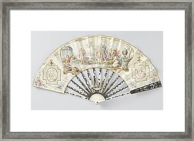 Folding Fan With Sheet Of Thin Leather With In Watercolor Framed Print by Litz Collection