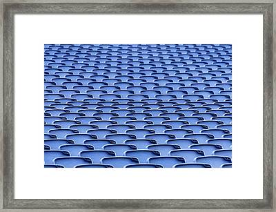 Folding Plastic Blue Seats Framed Print by Dutourdumonde Photography