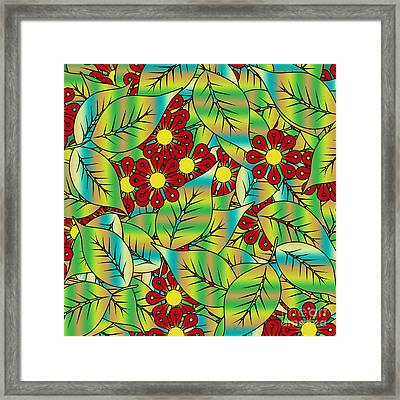 Foliage And Flowers Framed Print