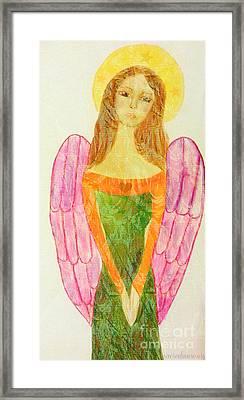 Folk Angel Protection Framed Print by Sacred  Muse