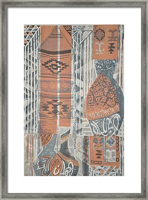 Folk Arabic Symbols Framed Print