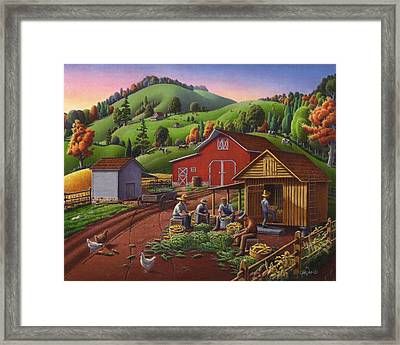 Folk Art Americana - Farmers Shucking Harvesting Corn Farm Landscape - Autumn Rural Country Harvest  Framed Print by Walt Curlee