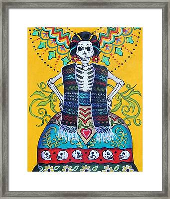 Folk Art Calavera Framed Print by Candy Mayer