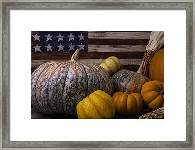 Folk Art Flag And Pumpkins Framed Print by Garry Gay