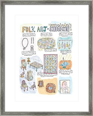 'folk Art Of Midtown' Framed Print by Roz Chast