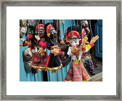 Folk Art Of Nepal, Paper Mache Masks Framed Print by Jaina Mishra
