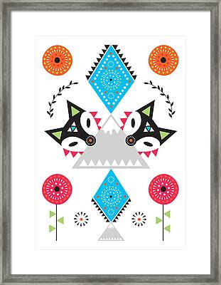 Folk Fox Framed Print