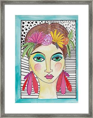 Folk Girl Pattern Framed Print