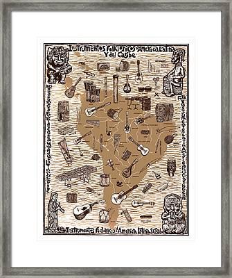 Folk Instruments Of Latin America Framed Print by Ricardo Levins Morales