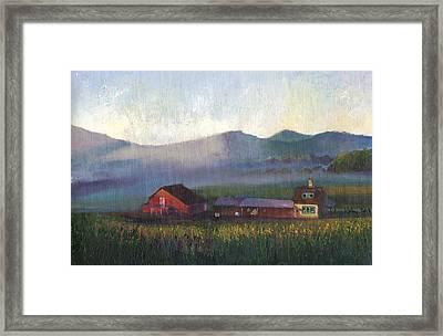 Folk School Barn At Dawn Framed Print by William Killen