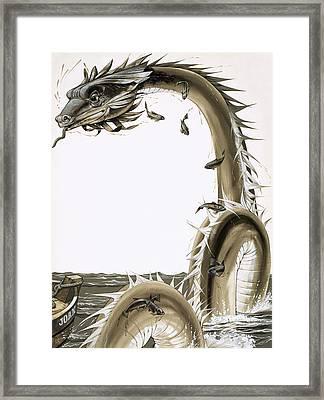 Folk Stories Of America Sea Serpent Framed Print by Richard Hook