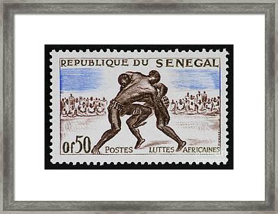 Folk Wrestling Vintage Postage Stamp Print Framed Print