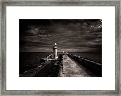 Folkestone Lighthouse Framed Print by Ian Hufton