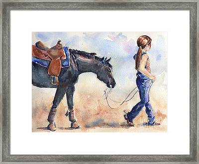 Black Horse And Cowgirl Follow Closely Framed Print by Maria's Watercolor