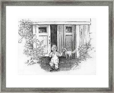 Framed Print featuring the drawing Follow Me by Joy Nichols