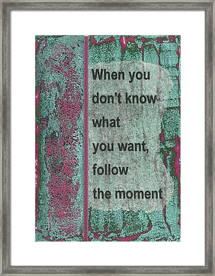 Follow The Moment Framed Print by Gillian Pearce