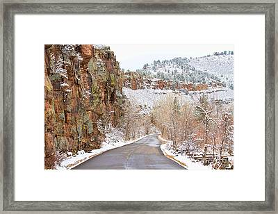Follow The Red Rock Ridge Winter Road  Framed Print