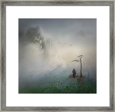 Follow The River To Where It Starts Framed Print by Shenshen Dou