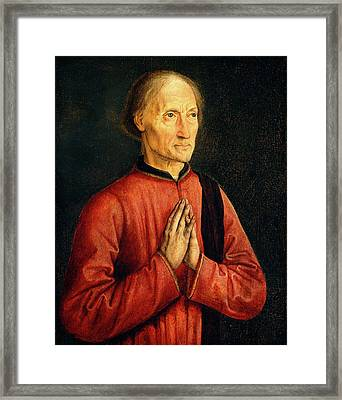 Follower Of Dirck Bouts, Portrait Of A Donor Framed Print by Litz Collection