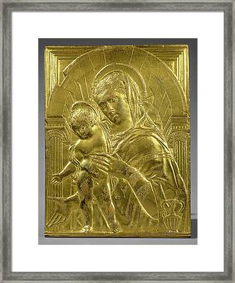 Follower Of Donatello, Madonna And Child Within An Arch Framed Print by Litz Collection