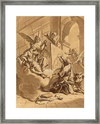 Follower Of Francesco Fontebasso, Saint Luke Painting Framed Print