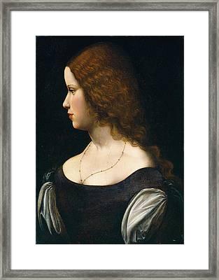 Follower Of Leonardo Da Vinci, Portrait Of A Young Lady Framed Print by Litz Collection