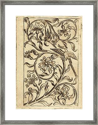 Follower Of Master Of The Playing Cards, Vine Ornament Framed Print by Quint Lox